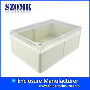 China ABS material IP68 waterproof plastic junction box with transparent lid AK10518-A2  204*143*78mm factory
