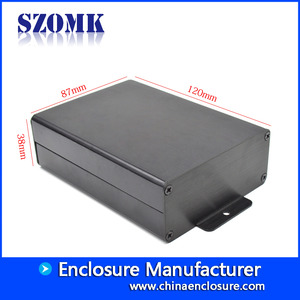 China Black power supply enclosure wall mounted aluminum enclosure for PCB AK-C-C77a 38*87*120mm factory