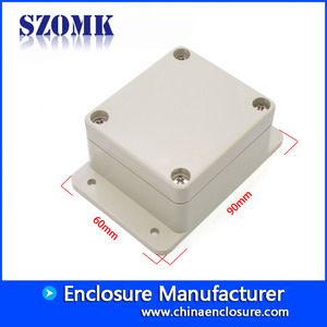 China IP65 Waterproof plastic box with flanges medium size for pcb and eletronics AK-B-19 100*100*40mm factory