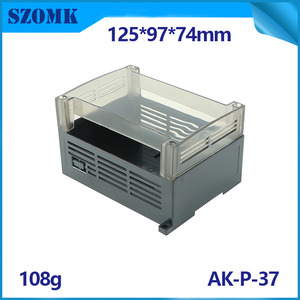China SZOMK Din Rail control box clear lid enclosure AK-P-37 125*90*72mm factory