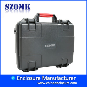 China SZOMK custom document pocket carrying aluminum black barber toolcase AK-18-05 415*335*120mm factory