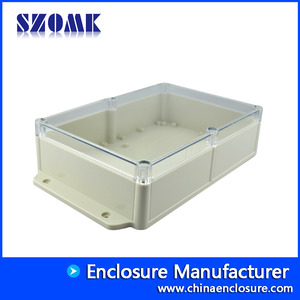 SZOMK unique design plastic ip68 industrial housing connector for electronic with transparent cover AK10020-A2 284*165*67 mm